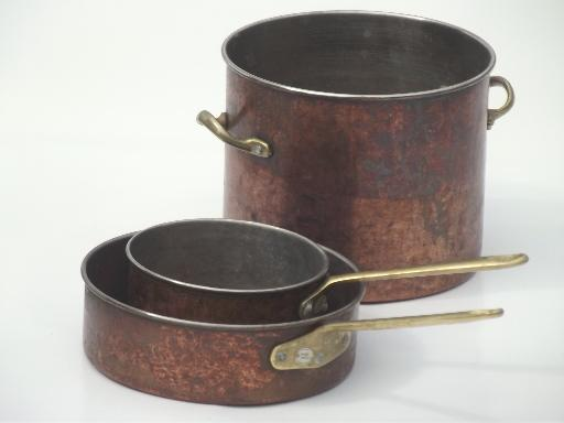 worn old copper pots & pans, vintage copper stockpot ...