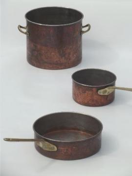 worn old copper pots & pans, vintage copper stockpot, saucepans lot