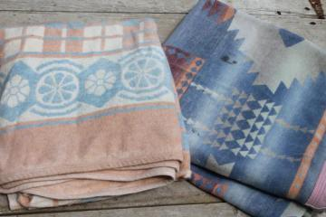 worn vintage camp blankets, primitive rustic faded indian blanket colors