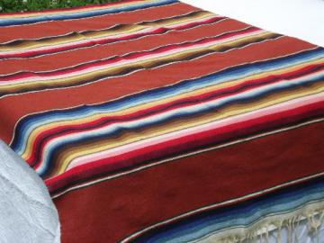 woven serape stripes Mexican Indian blanket rug, vintage Mexico souvenir
