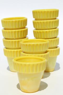 yellow Akro Agate glass planters, 1930s vintage mini flower pots set of 12