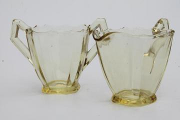 yellow amber depression glass cream & sugar set, vintage Paden City plain glass without etch