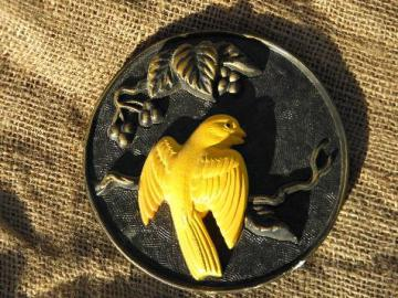 yellow canary on black, 60s vintage signed Miller chalkware wall plaque