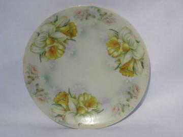 yellow daffodils, large antique hand-painted china plate, vintage Bavaria