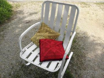 yellow gold & barn red lace doily pillows, vintage scatter pillow lot