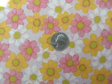 yellow, pink, white flowers print, vintage 36'' wide cotton fabric