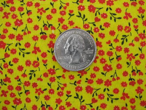 yellow / red flowers print vintage cotton fabric