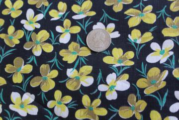 yellow violets flowers on black cotton print fabric, vintage 40s 50s