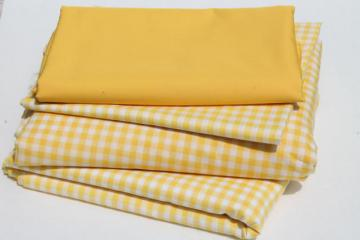 yellow & white checked gingham & solid broadcloth, retro vintage cotton blend fabric lot