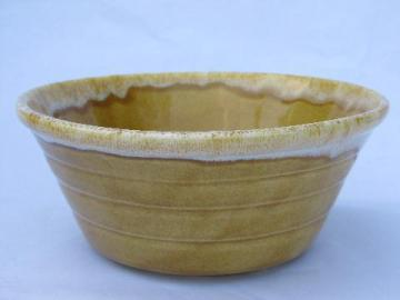 yellow-gold drip kitchen mixing bowl, vintage California pottery
