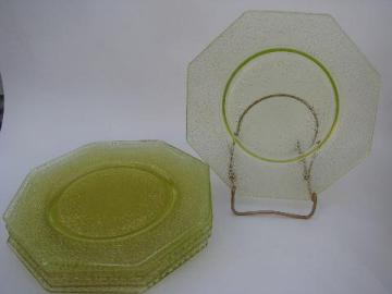 yellow-green vintage pressed glass crackle pattern plates, set of 6