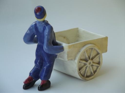young man w/ pushcart flower planter, vintage California studio pottery