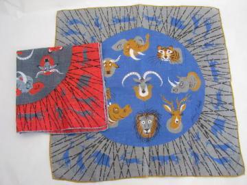 zoo animals print vintage hankies handkerchief lot, Tammis Keefe